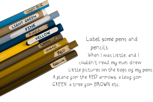 pencils with names of colours on